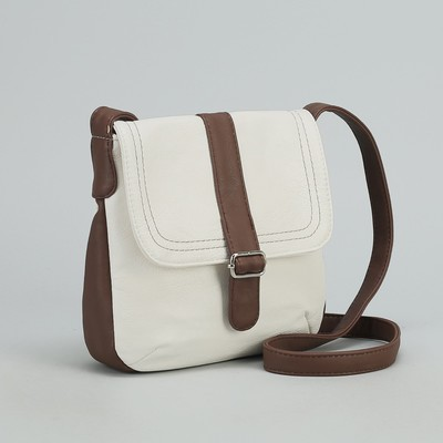 """Сумка женская на молнии """"Ада"""", 1 отдел, 1 наружный карман, длинный ремень, белый/коричневый"""