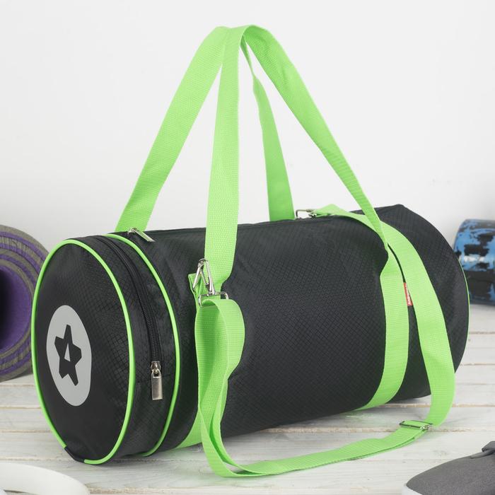 Сумка спортивная, отдел на молнии, наружный карман, цвет чёрный/салатовый