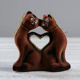 """Копилка """"Коты сердце"""", покрытие флок, коричневая, 16 см"""
