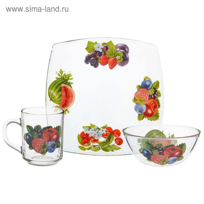 "Набор для завтрака ""Ягодная поляна"" (тарелка 19,5*19,5 см, салатник 13 см, кружка 250 мл)"