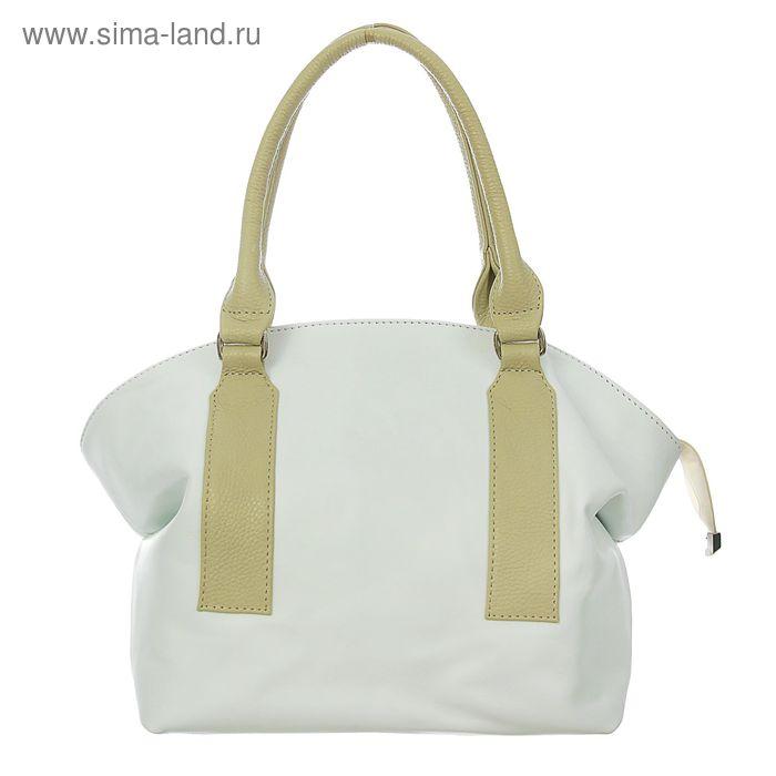 Сумка женская на молнии, 1 отдел, 1 наружный карман, белый/бежевый