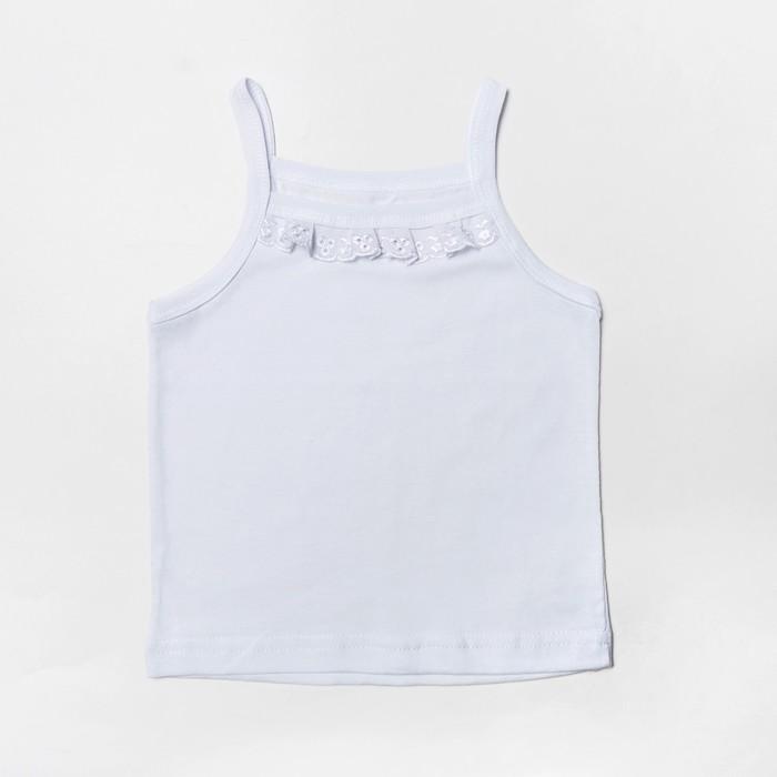Майка для девочки с кружевом, цвет белый, рост 104 см