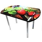 Стол обеденный «Европейский», 1100 × 700 × 750, ф/п «Клубника» / серый