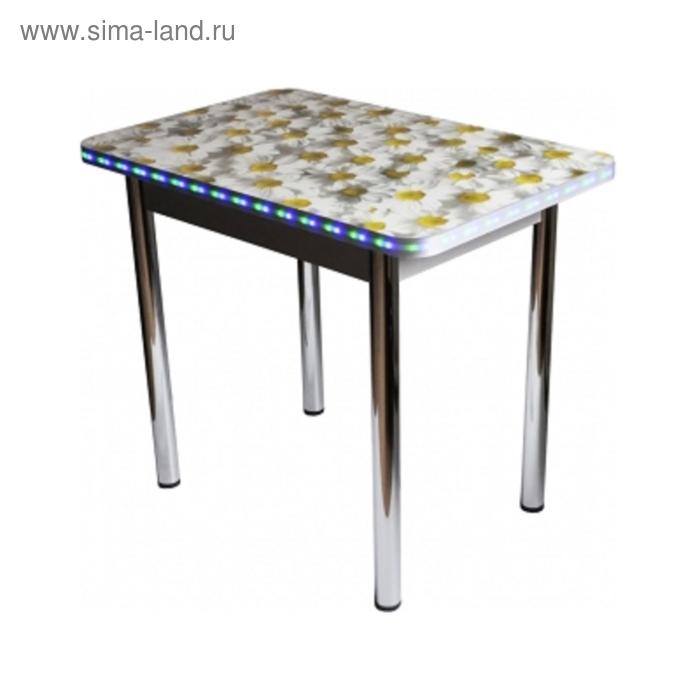 Стол обеденный Прямоугольный СВЕТОДИОД 900х600х750 ф/п 32 мм Ромашки/Серый