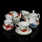 """Сервиз чайный """"Арина. Полевые маки"""", 14 предметов: чайник 1,04 л, сахарница 500 мл, 6 чашек 270 мл, 6 блюдец 14,7 см"""