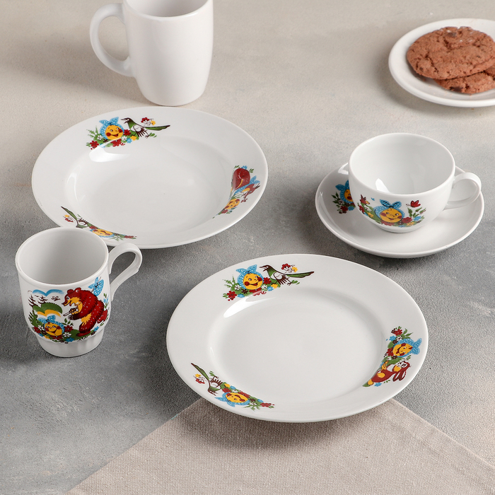 """Набор посуды """"Веселый колобок"""", 5 предметов: чайная пара 210 мл, тарелка малая d=20 см, тарелка глубокая d=20 см, кружка 210 мл"""