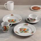 "Набор посуды ""Школа"", 5 предметов: чайная пара 210 мл, тарелка мелкая d=20 см, тарелка глубокая d=20 см, кружка 210 мл"