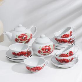 Сервиз чайный «Дачный. Маки», 14 предметов