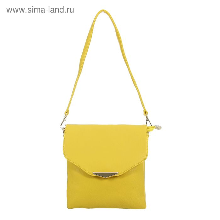 Сумка женская на молнии, 3 отдела, 1 наружный карман, регулируемый ремень, жёлтая