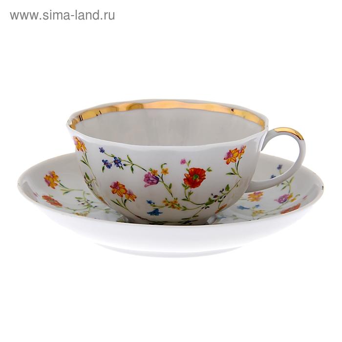 """Чашка чайная с блюдцем 220 мл """"Тюльпан. Полевые цветы"""""""