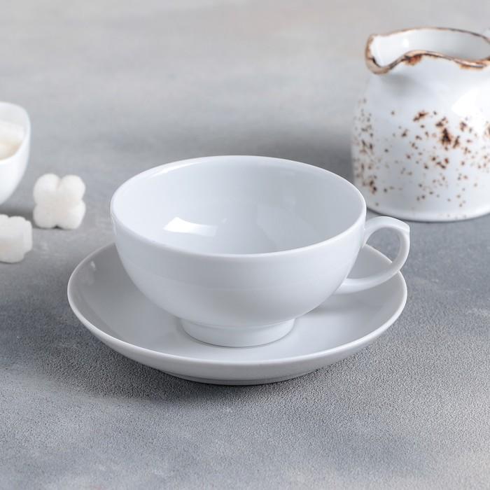 """Чайная пара 220 мл """"Рубин"""", цвет белый"""