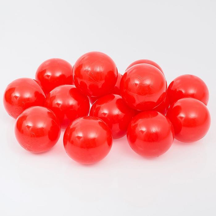 Шарики для сухого бассейна с рисунком, диаметр шара 7,5 см, набор 500 штук, цвет красный - фото 1650314