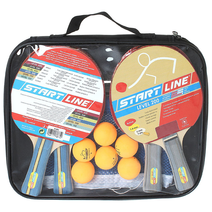 Набор: 4 Ракетки Level 200, 6 Мячей Club Select, сетка с креплением
