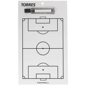 Тактическая доска для футбола TORRES, маркерная с зажимом Ош