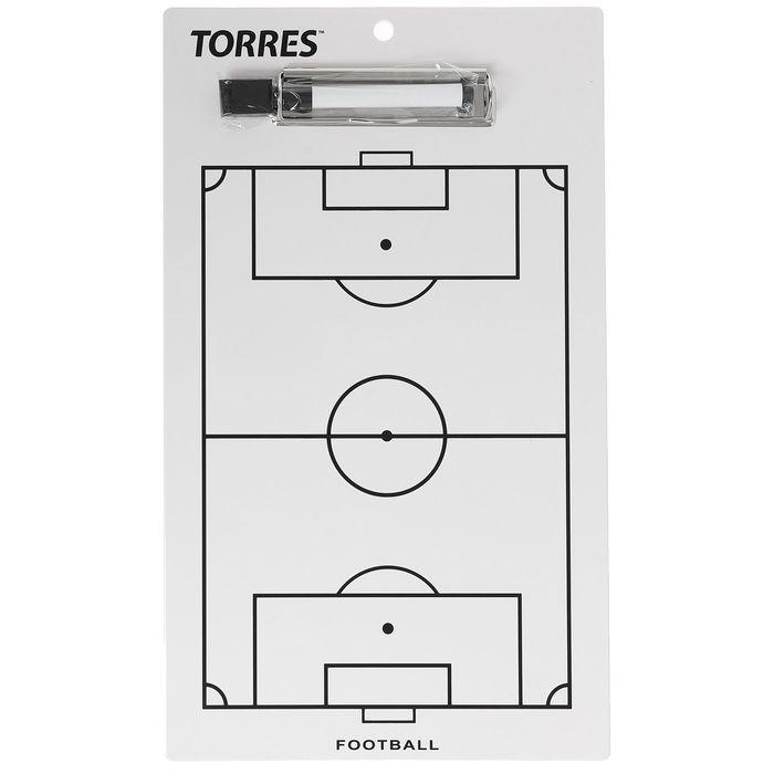 Тактическая доска для футбола TORRES, маркерная с зажимом