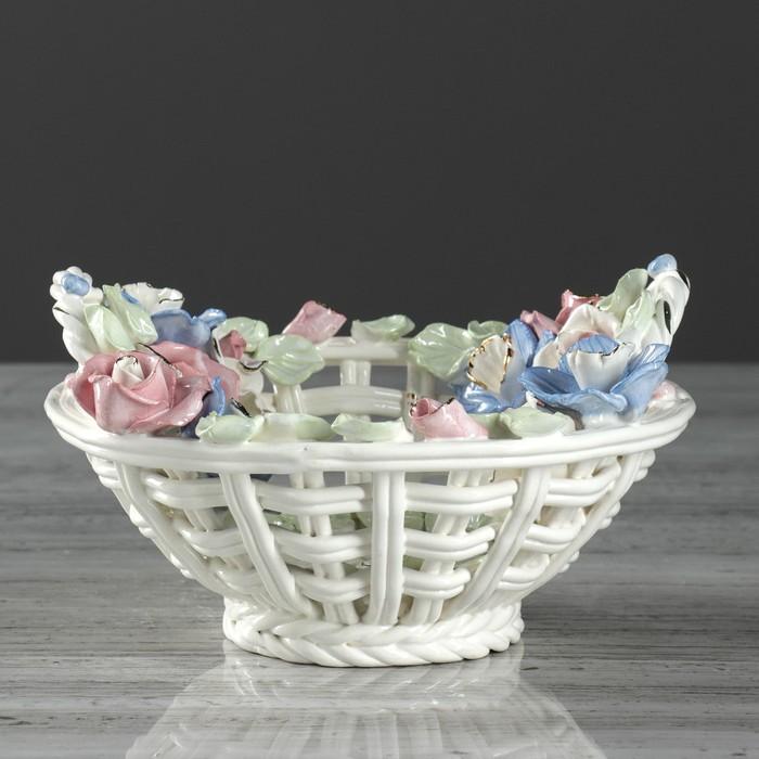 """Конфетница """"Крестьянка"""", плетение, лепка цветная, цветы, 10 см, микс"""
