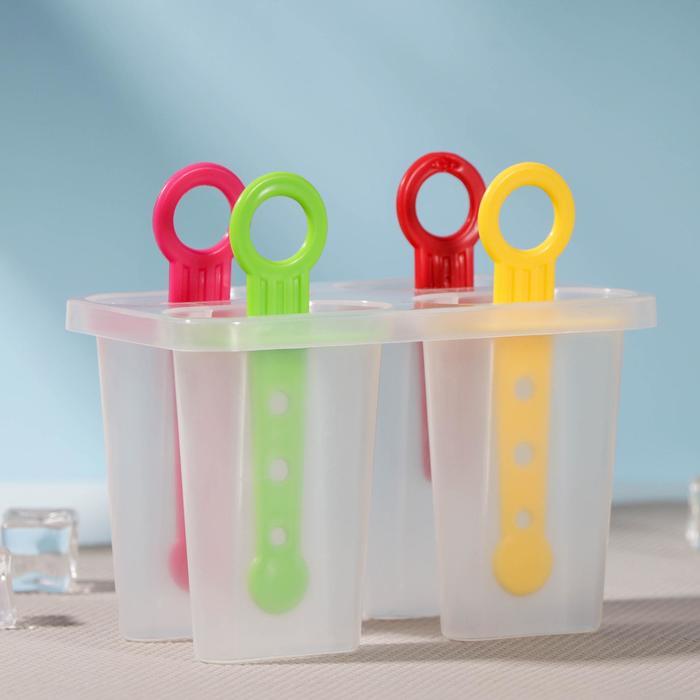 """Форма для мороженого 12,5х7х10 см """"Симпл"""", 4 ячейки, цвета МИКС"""