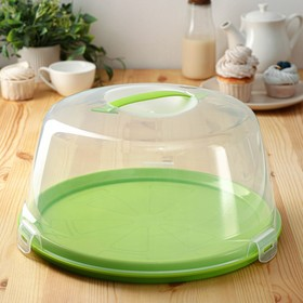 Dish for cake and pastries with lid, two-sided, d=33 cm, MIX color