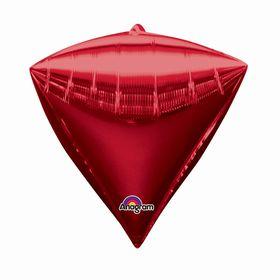 """Шар фольгированный 17"""" 3D-алмаз, металл, цвет красный"""