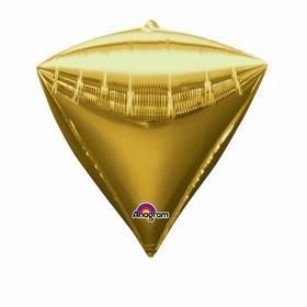 """Шар фольгированный 17"""" 3D-алмаз, металл, цвет золотой"""