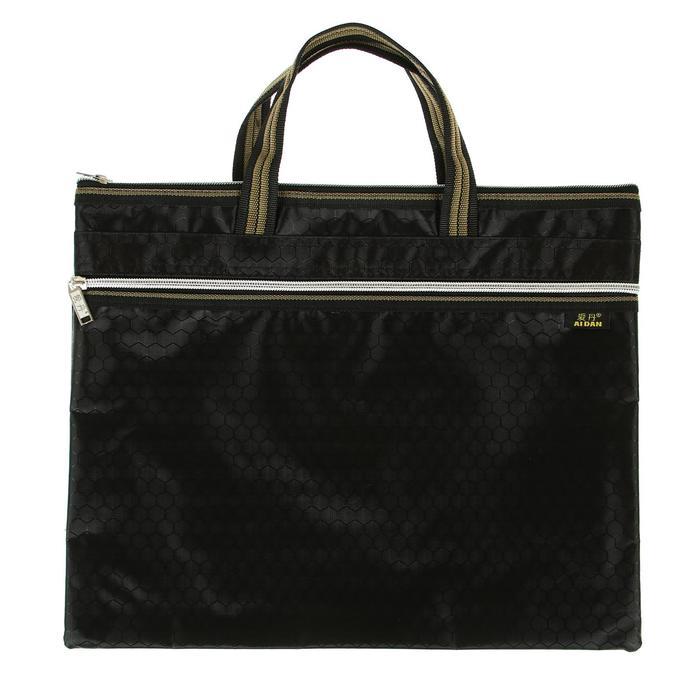 Портфель 1 отделение, формат А4, текстильный, на молнии, с ручками, с карманом,черный
