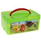 Ящик для игрушек с аппликацией Angry birds Movie с крышкой и ручкой, 3 л, цвет зелёный