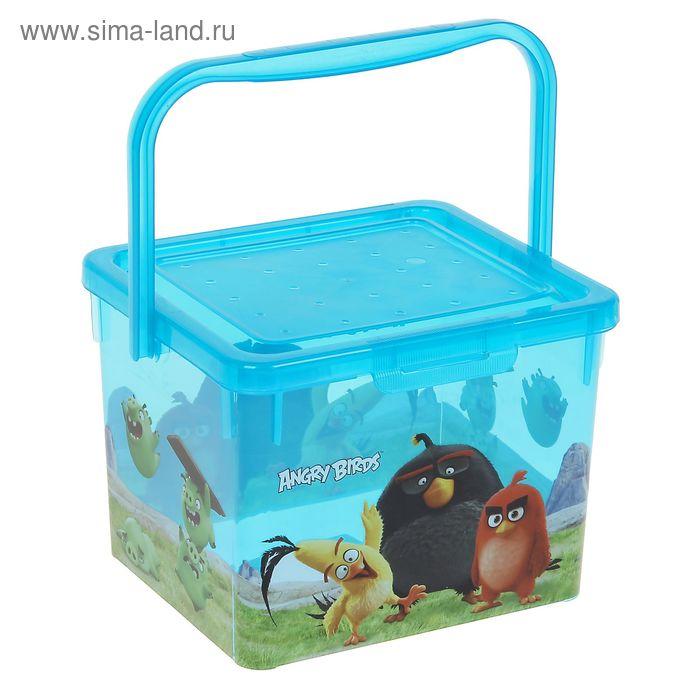 Ящик для игрушек с аппликацией Angry birds Movie с крышкой и ручкой, 5 л, цвет голубой