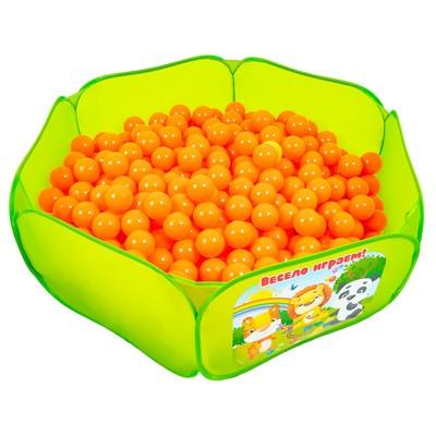 Шарики для сухого бассейна с рисунком, диаметр шара 7,5 см, набор 500 штук, цвет морковный