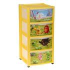 Комод детский на колесах с аппликацией Аngry birds, 4 ящика