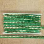 Тесьма декоративная перекрутка, ширина 1,3см, длина 10±1м, цвет бело-зелёный
