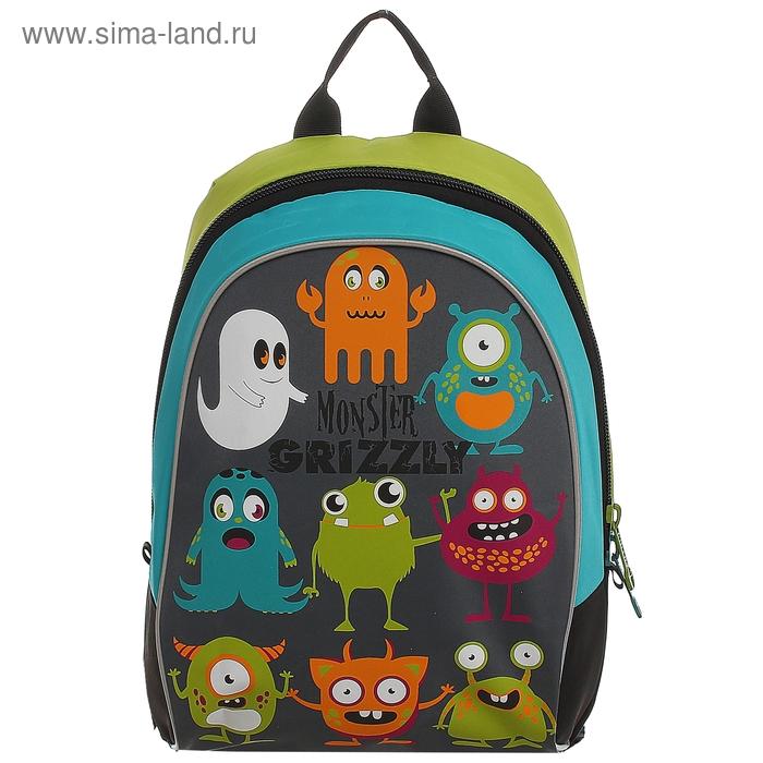 Рюкзак школьный на молнии, 1 отдел, серый