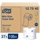 Туалетная бумага для диспенсера Tork Mid-size в миди рулонах (T6), 135 метров
