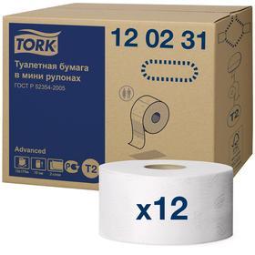 Туалетная бумага для диспенсера Tork в мини рулонах (T2), 1214 листов