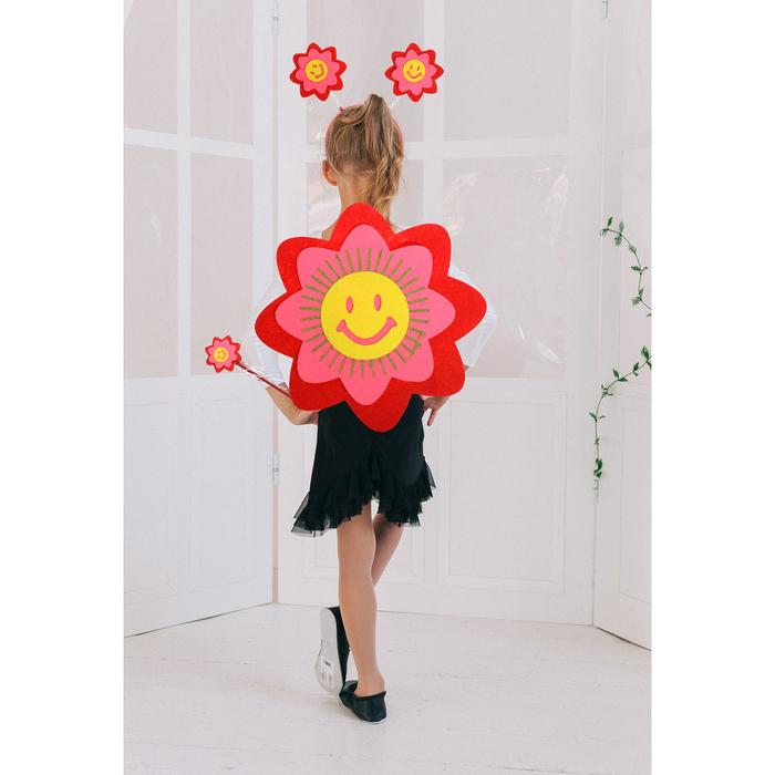 """Карнавальный набор """"Улыбчивый цветок"""", 3 предмета: ободок, жезл, аксессуар, 3-5 лет"""