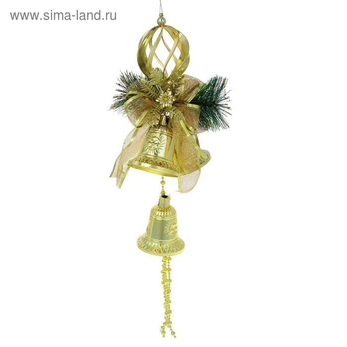 """Подвеска новогодняя """"Три колокольчика с еловой веткой и бусами """" золото 15*31 см"""