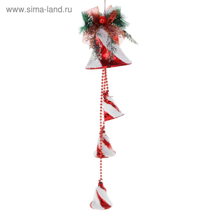 """Украшение новогоднее """"Колокольчик красный с белым напылением"""" 15*55 см"""
