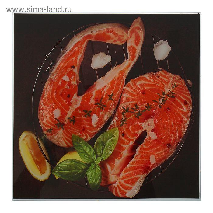 """Картина на стекле """"Жареная рыбка"""" 30*30 см"""