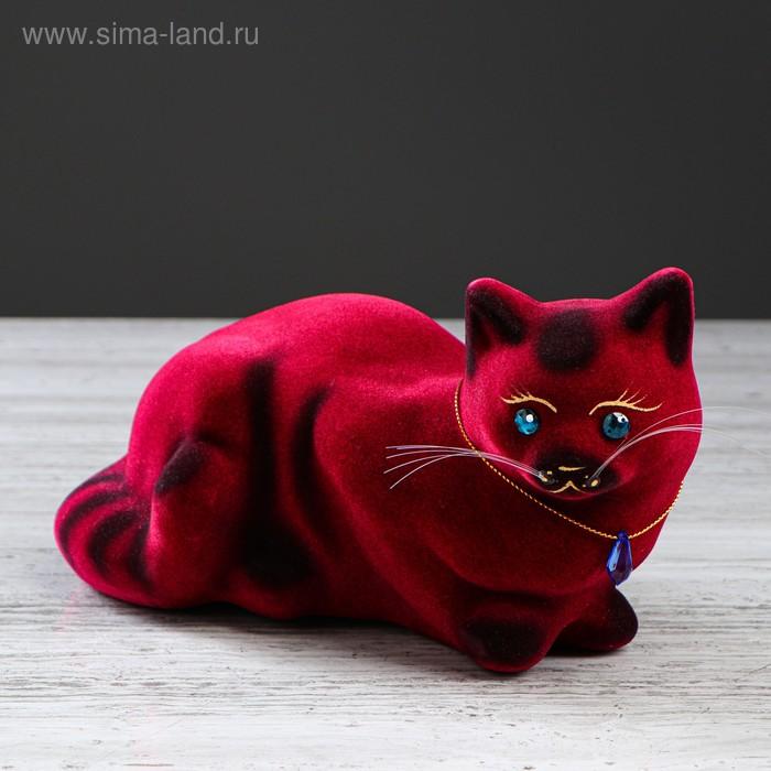 """Копилка """"Кошка Ляля"""" малая, флок, бордовая"""