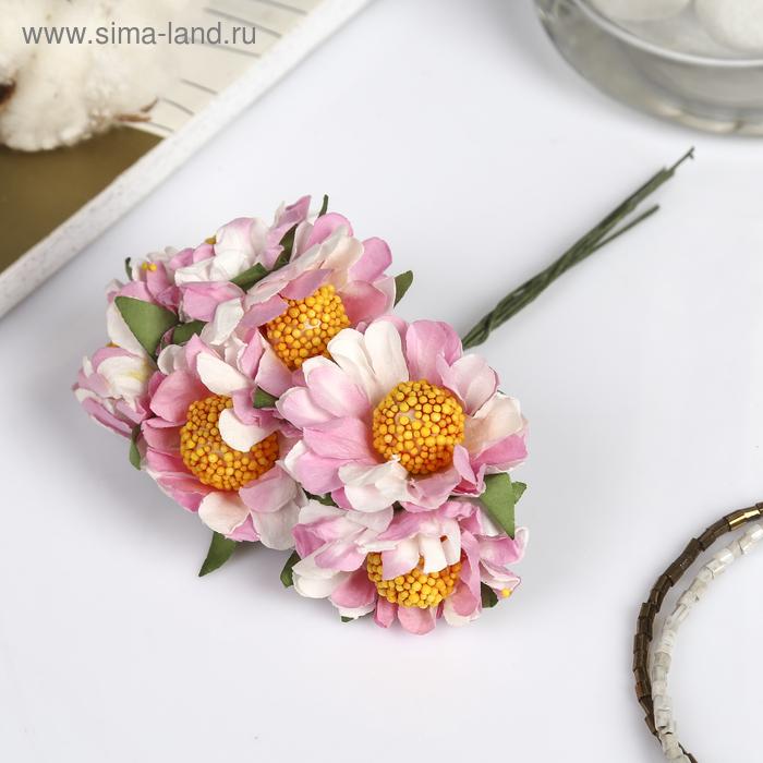 """Декор для творчества """"Хризантема"""" набор-букет=6 цветков, d=3.5 см, длина 10 см"""