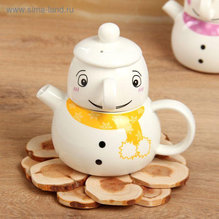 "Набор чайный ""Снеговик"", 2 предмета: чайник, чашка"