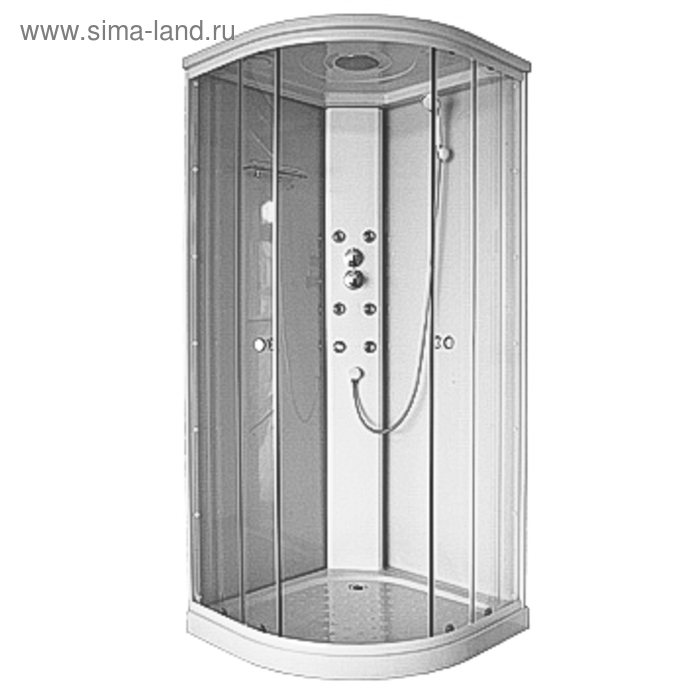 Душевая кабинка Comforty 185 прозрачное стекло, задняя белая стеклянная панель, без электрики, 90 х 90 х 213 см