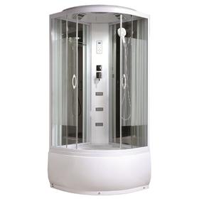 Душевая кабинка Comforty 212, стекло страйп, задняя зеркальная панель, 90 х 90 х 215 см