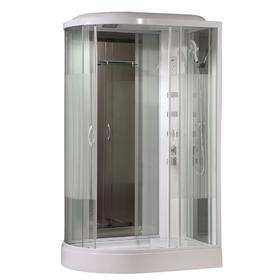 Душевая кабинка Comforty 213R, стекло страйп, задняя зеркальная панель, 120 х 85 х 215 см