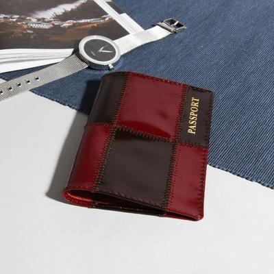 """Обложка для паспорта """"Ассорти"""", бордовый/чёрный"""