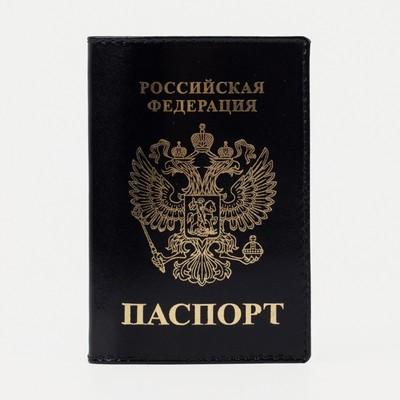 """Обложка для паспорта """"Герб"""", чёрный глянцевый"""