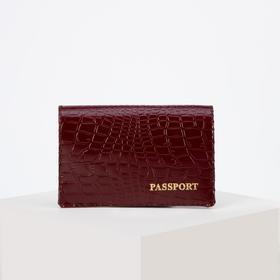 Passport cover, crocodile, cognac color
