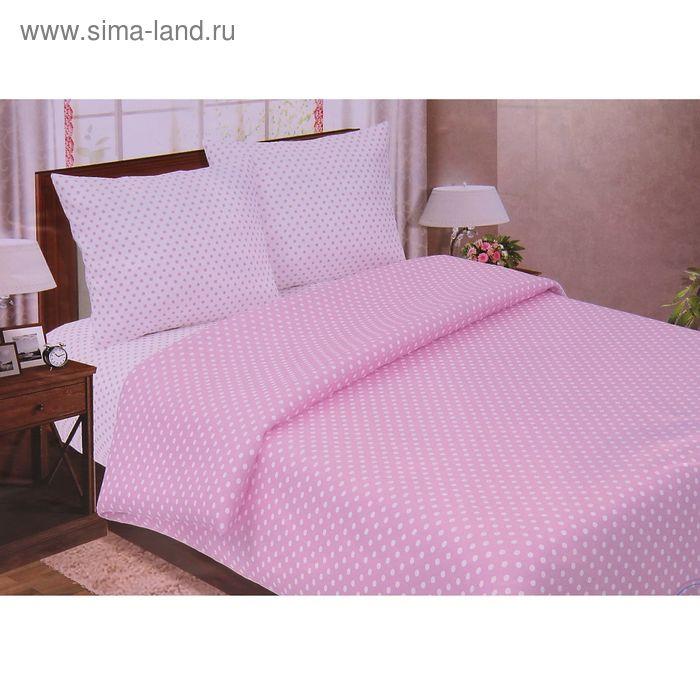 """Постельное бельё Pastel """"Горошек розовый"""" евро, размер 200х217 см, 220х240 см, 70х70 см - 2 шт., поплин, 110 г/м2"""