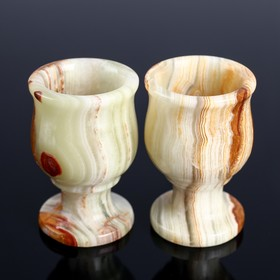 Set of wine glasses Tulip, 2 pieces, 5 × 7.5 cm, onyx