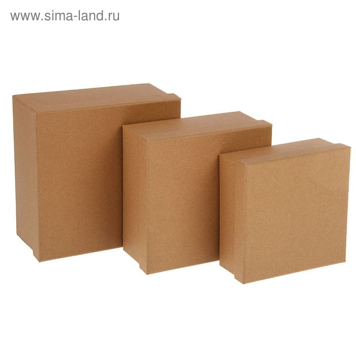 Набор коробок 3в1 квадрат крафт (19*19*9,5/17,5*17,5*8/15,5*15,5*6,5 см)