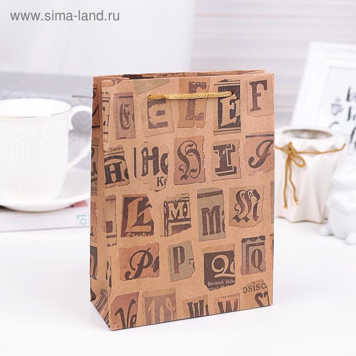 """Пакет крафт """"Буквы"""", 15 х 20 х 6 см"""